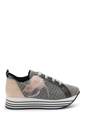 HARRIS CHECKED SNEAKERS WITH FEATHER DETAIL L4K3 PINK