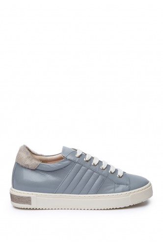 LEATHER SNEAKERS WITH FUR DETAIL MARELLA SKY BLUE