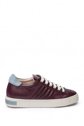 LEATHER SNEAKERS WITH FUR DETAIL MARELLA MAROON