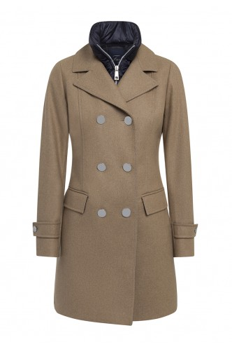 CROSSOVER COAT WITH INSIDE VEST COLLAR FAY CAMEL