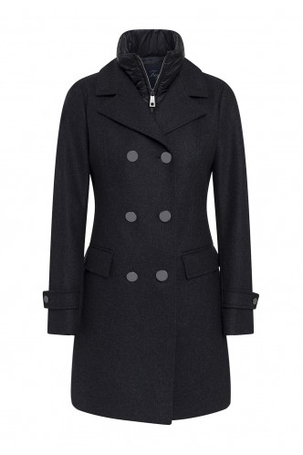 CROSSOVER COAT WITH INSIDE VEST COLLAR FAY CHARCOAL
