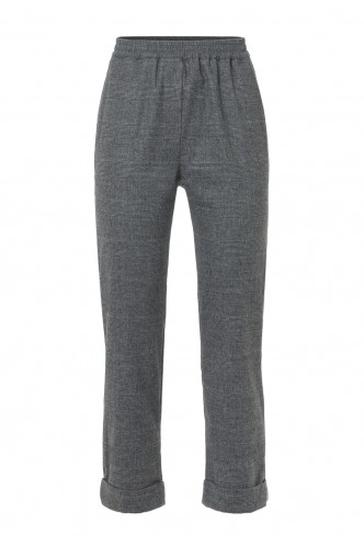 CHECKED TROUSERS WITH ELASTIC WAISTBAND PUROTATTO DARK GREY