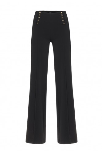 WIDE LEG TROUSERS WITH GOLDEN STUDS ACCESS BLACK
