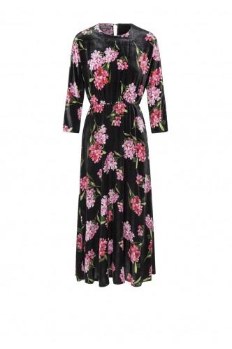 VELVET DRESS IN FLOWER PRINT MARIONA BLACK