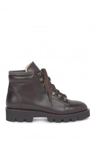 LACE UP BOOTIES WITH METALIC DETAIL FABIANA FILIPPI BROWN