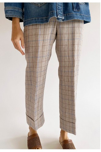 PESERICO_STRAIGHT_FIT_BICOLOR_CHECKED_TROUSERS_MARIONA_FASHION_CLOTHING_WOMAN_SHOP_ONLINE_P04476